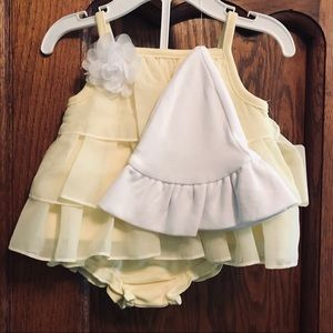 Spring Time NB Baby Girl dress Outfit w/ white hat